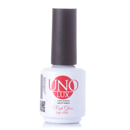 Топ UNO Lux High Gloss Top Coat без липкого слоя, 15 мл